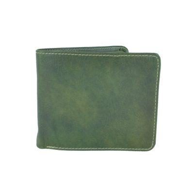 Peňaženka z prírodnej kože v zelenej farbe, ručne tamponovaná (2)