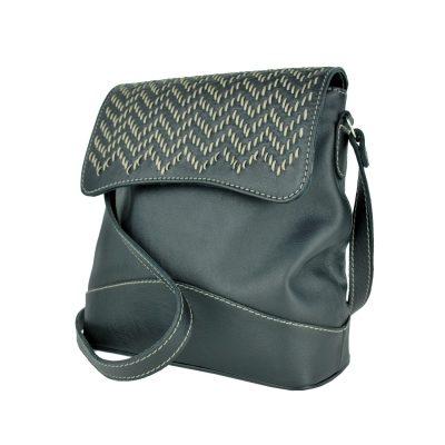 Ručne vyšívaná kožená kabelka v čiernej farbe s béžovým prešívaním (3)