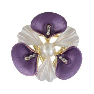 Elegantná ozdobná brošňa pre šatky v tvare fialového kvetu (1)