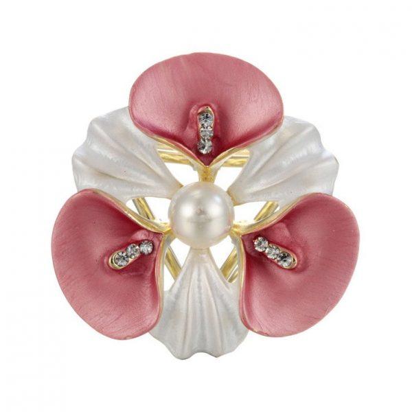 Elegantná ozdobná brošňa pre šatky v tvare ružového kvetu (1)