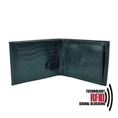 Kožená RFID peňaženka vybavená blokáciou RFID NFC, čierna farba č (2)