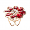 Luxusná ozdoba pre šatku v tvare zlatej kvetiny s červenými kryštálmi (1)