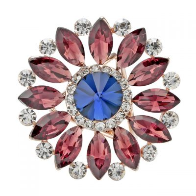 Luxusný trojprstenec na šatky v tvare kvetiny s bordovými kryštálmi