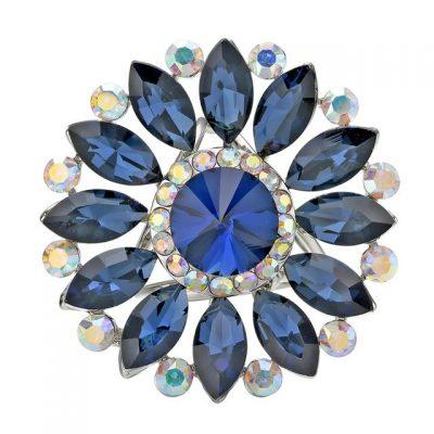 Luxusný trojprstenec na šatky v tvare kvetiny s modrými kryštálmi (2)