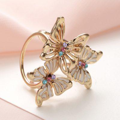 Ozdoba pre šatku v tvare farebných motýľov v zlatej farbe (2)