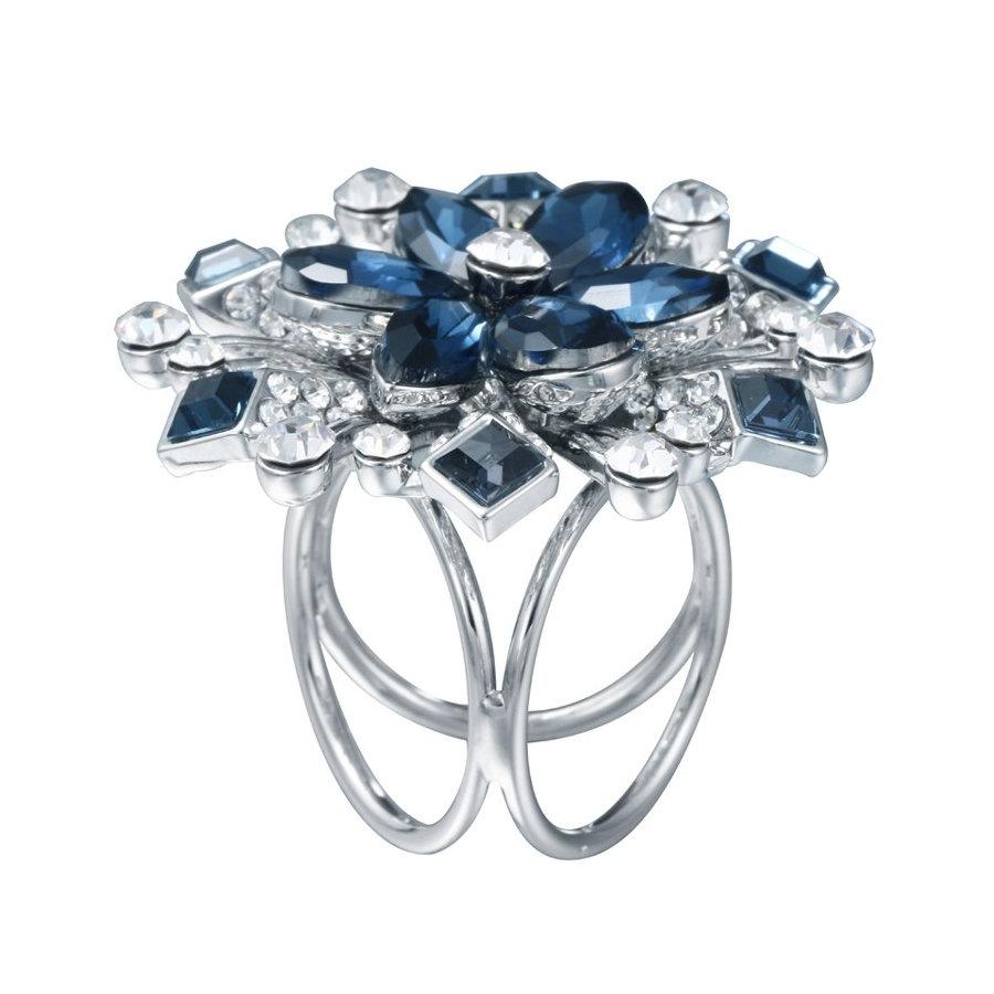 Ozdoba pre šatky v tvare modrého kryštálového kvetu (1)