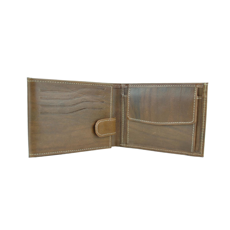 Pánska kožená peňaženka č.8552, melírový efekt mahagónového dreva (4)