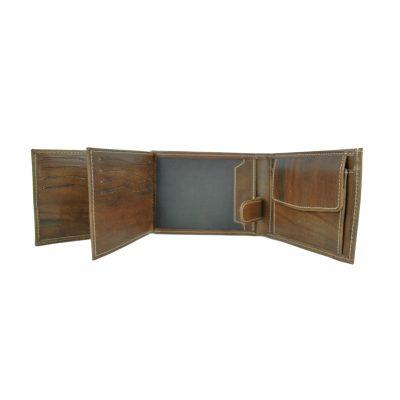 Pánska kožená peňaženka č.8552, melírový efekt mahagónového dreva (7)