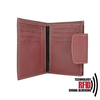 RFID kožená peňaženka v červenej farbe vybavená blokáciou RFID NFC, č (2)