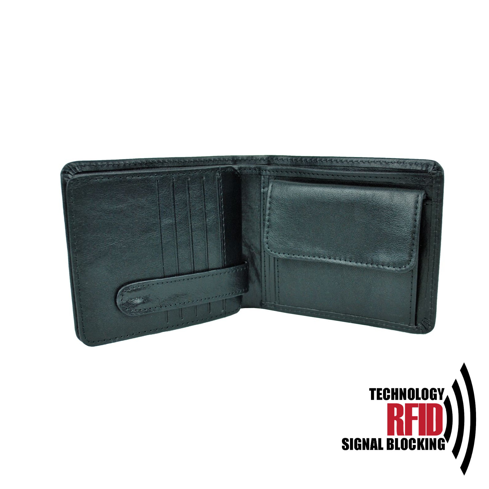 RFID kožená peňaženka v čiernej farbe vybavená blokáciou RFID NFC, č (1)