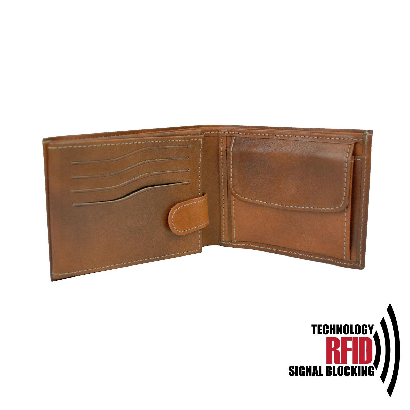 RFID kožená peňaženka v hnedej farbe vybavená blokáciou RFID NFC, č (4)