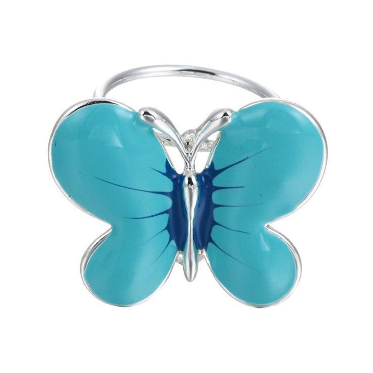Elegantná ozdobná brošňa pre šatky v tvare modrého motýľaElegantná ozdobná brošňa pre šatky v tvare modrého motýľa