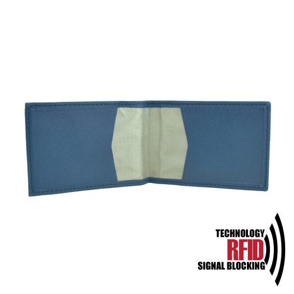 Kožené RFID púzdro vybavené blokáciou RFID NFC v modrej farbe (2)