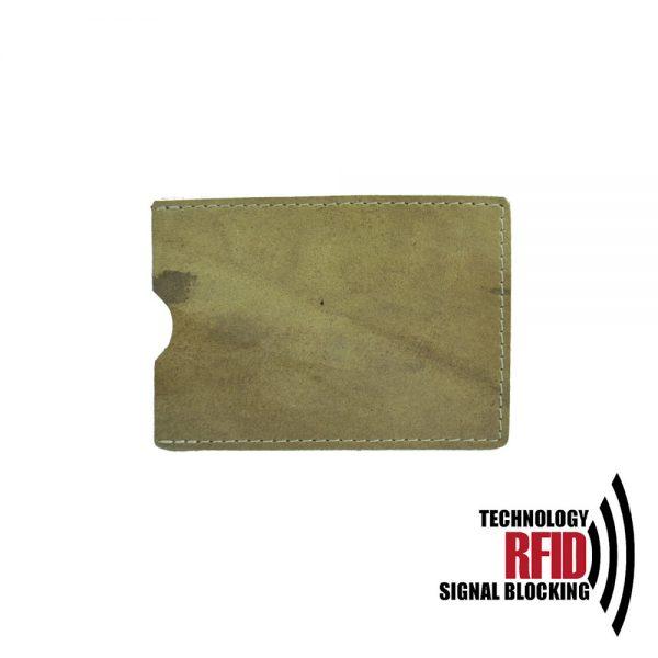 Ochranné kožené púzdro na debetné a kreditné karty, khaki farba (2)