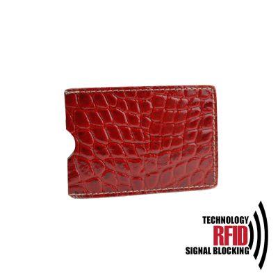 RFID kožené púzdro vybavené blokáciou RFID NFC, tmavo červená farba (2)