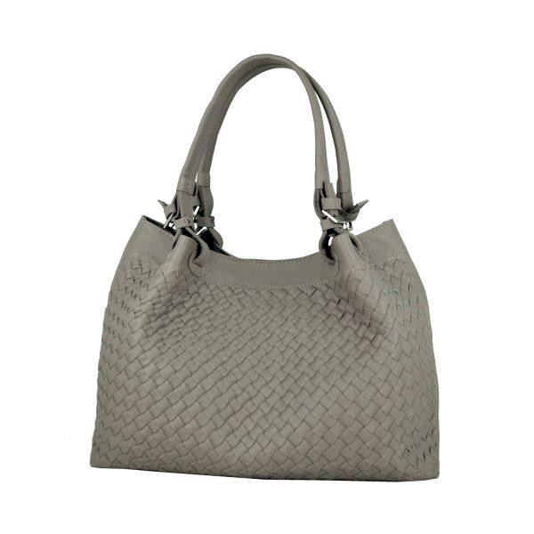 Ručne pletená kabelka z hovädzej usne v talianskom štýle v béžovej farbe (1)