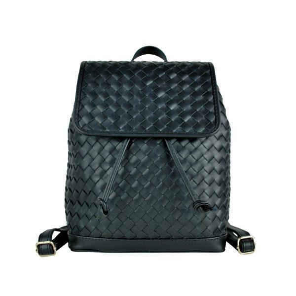 Ručne pletený kožený ruksak z pravej hovädzej kože č.8739 v čiernej farbe (3)