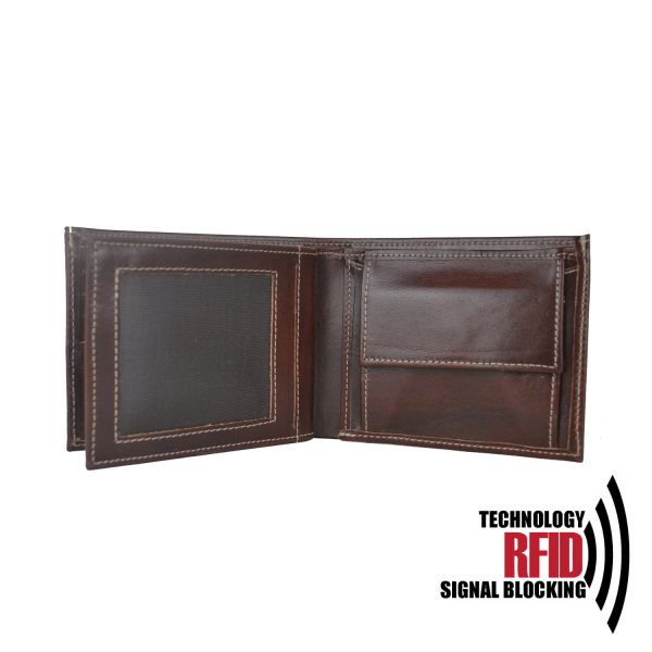 Kožená RFID peňaženka vybavená blokáciou RFID / NFC, hnedá farba č.8407