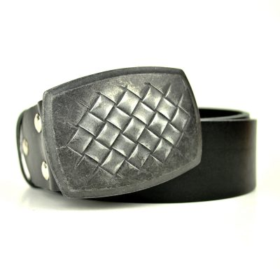 Ručne vyrobený kožený opasok Shield, 4cm, čierna farba