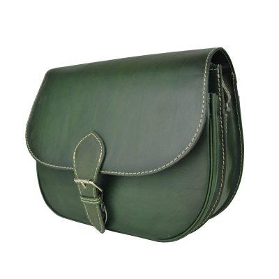 Tmavo zelená kožená kabelka, ručne tieňovaná, uzatváranie – vyťahovací zámok
