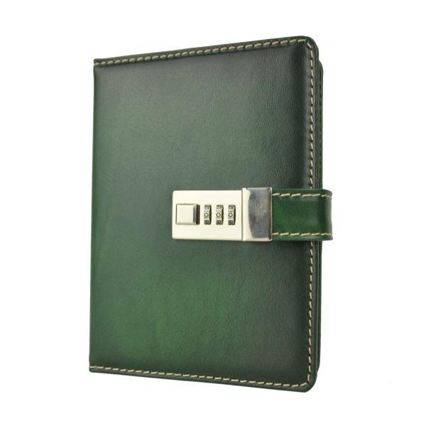 Veľký ručne tieňovaný zápisník z prírodnej kože na heslový zámok, zelená farba