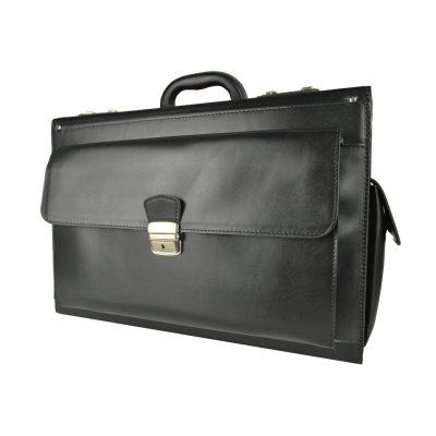 Celokožený cestovný kufor č.8174 bez mechaniky, čierna farba