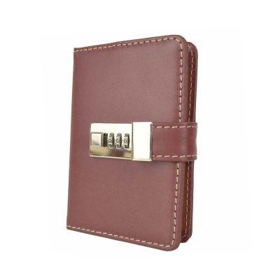 Kožený zápisník MINI z prírodnej kože s číselným zámkom v bordovej farbe-- - kópia