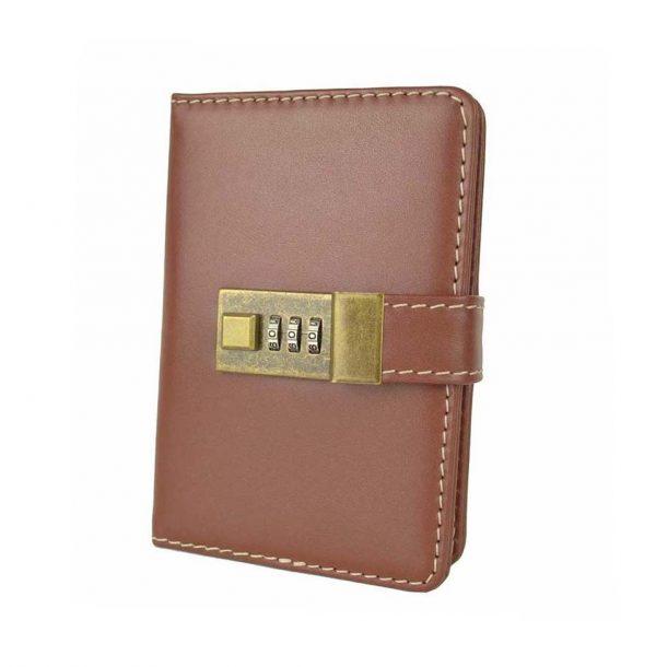 Kožený zápisník MINI z prírodnej kože s číselným zámkom v hnedej farbe. - kópia