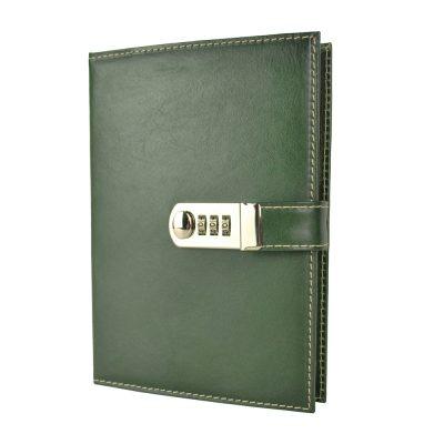XXL zápisník z prírodnej kože na heslový zámok, ručne tieňovaný, zelená farba,