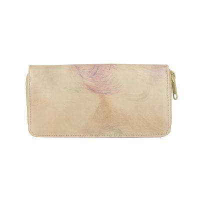 Ručne tamponovaná kožená peňaženka č.8606:2 v dúhovej béžovej farbe