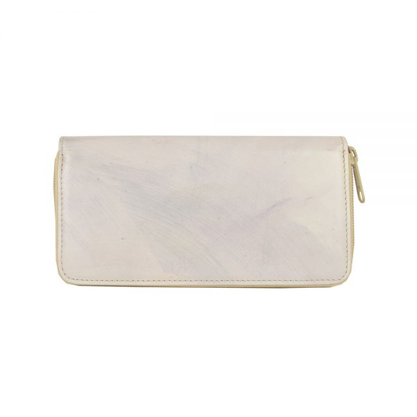Ručne tamponovaná kožená peňaženka č.8606:2 v dúhovej šedej farbe