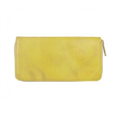 Ručne tamponovaná kožená peňaženka č.8606/2 v žltej farbe