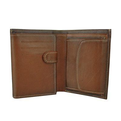 Luxusná kožená peňaženka č.8560 ručne tieňovaná v Cigaro farbe