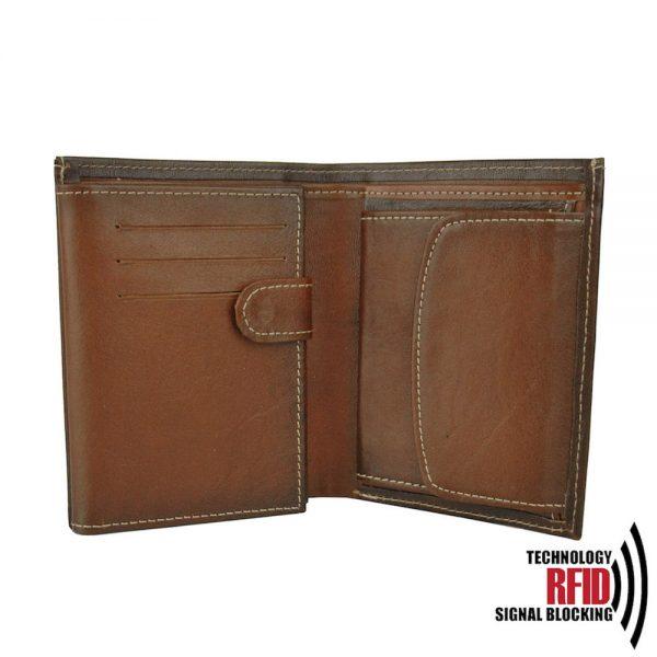 Kožená RFID peňaženka vybavená blokáciou RFID / NFC, Cigaro farba č.8560