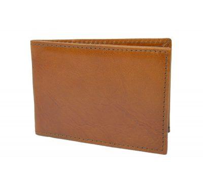 Kožené puzdro na platobné karty vo svetlo hnedej farbe