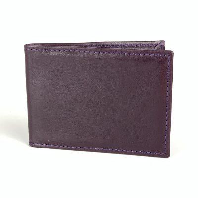 Kožené puzdro na platobné karty v tmavo fialovej farbe