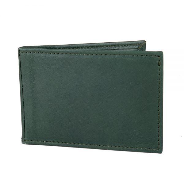 Kožené puzdro na platobné karty v tmavo zelenej farbe