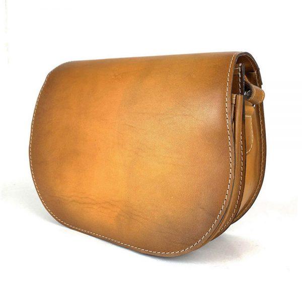 Tmavo žltá kožená kabelka, ručne tieňovaná, uzatváranie - skrytý magnet