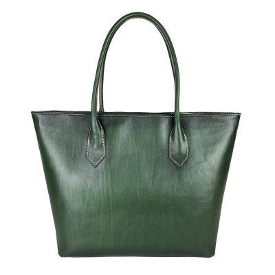Kožená dámska kabelka SHOPPER ručne tamponovaná a tieňovaná v žltej farbe.