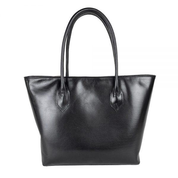 Kožená dámska kabelka SHOPPER v čiernej farbe