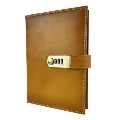 XXL zápisník z prírodnej kože na heslový zámok, ručne tieňovaný, žltá farba