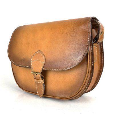 Tmavo žltá kožená kabelka, ručne tieňovaná, uzatváranie – vyťahovací zámok