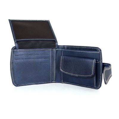 Elegantná kožená peňaženka č.8467 v modrej farbe, ručne tamponovaná