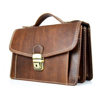 Luxusná kožená etua č.7847, ručne tamponovaná, hnedá