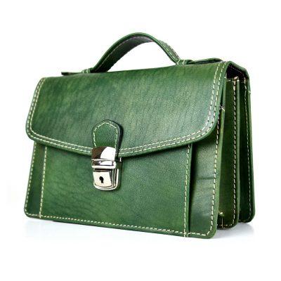 Luxusná kožená etua č.7847, ručne tamponovaná, zelená