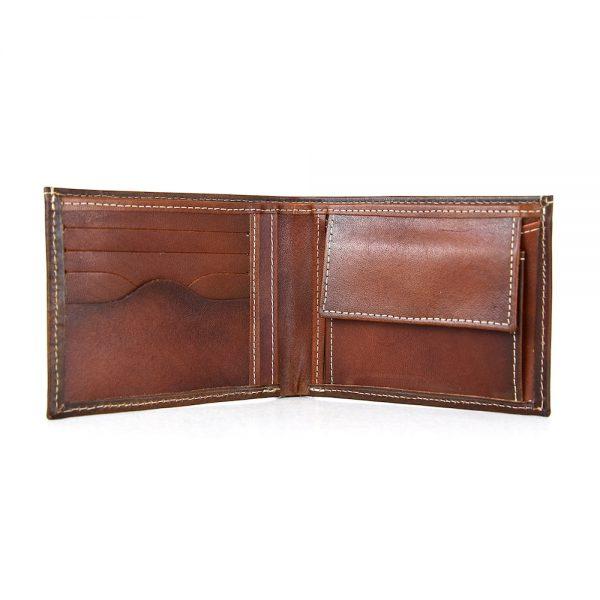 Elegantná peňaženka z pravej kože č.8406 v Cigaro farbe, ručne natieraná