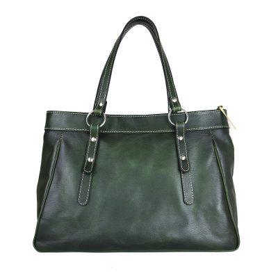 Kožená kabelka 8602 ručne tamponovaná a tieňovaná v tmavo zelenej farbe