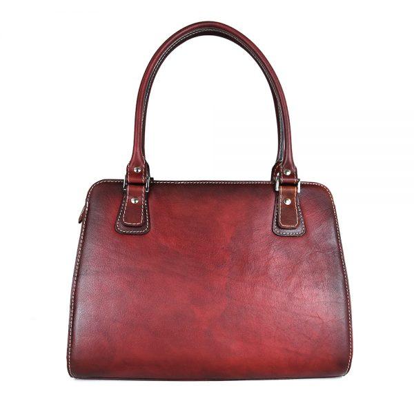 Exkluzívna kožená kabelka 8614 ručne tamponovaná a tieňovaná v bordovej farbe.,