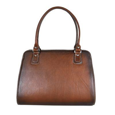 Exkluzívna kožená kabelka 8614 ručne tamponovaná a tieňovaná v hnedej farbe-