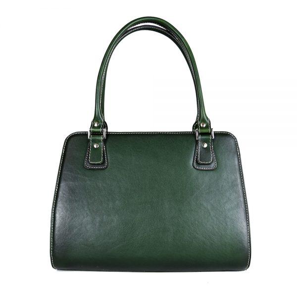Exkluzívna kožená kabelka 8614 ručne tamponovaná a tieňovaná v tmavo zelenej farbe,,